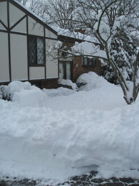 Looks like about 4 ft of snow blocking my parents' house
